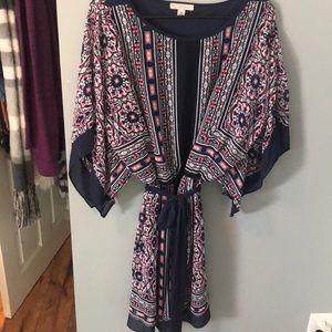 DRESSBARN Patterned Elastic Waist Flowing Dress